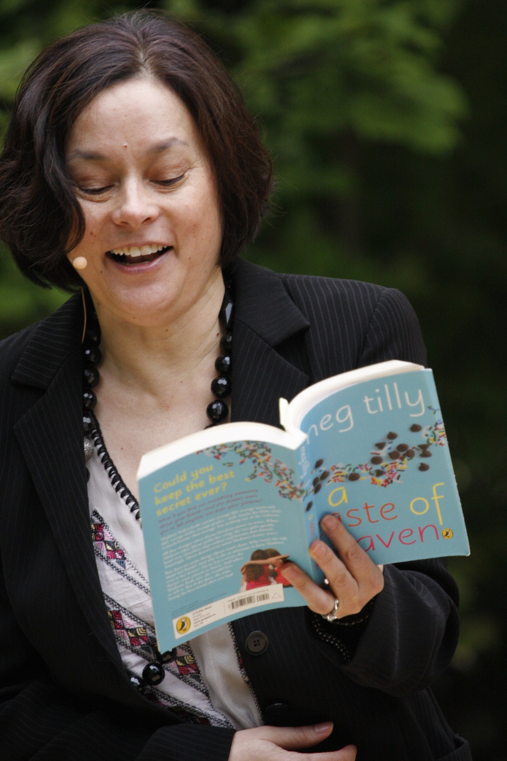 Meg Tilly reading from her book at the Telling Tales Festival