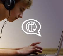 Graphic of a teen boy using a laptop with a speech bubble icon