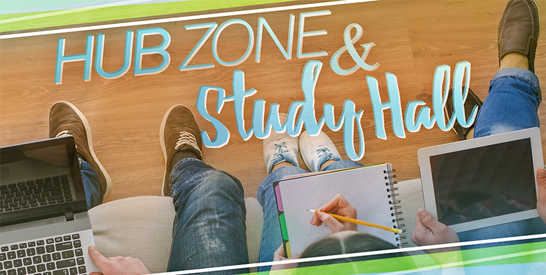 text hub zone and study hall photo of kids studying