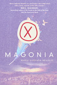 book cover of Magonia with a red x