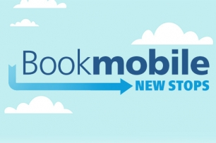 Text Bookmobile New Stops on a cloud background