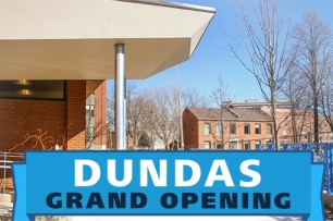 photo of Dundas Branch with text Dundas Grand Opening