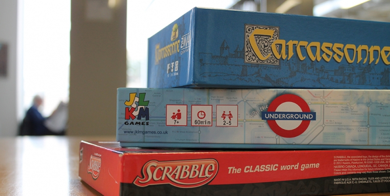 Closeup of board games
