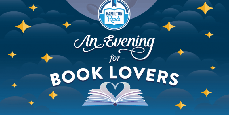 An Evening for Book Lovers - two books look like kissing swans under the stars