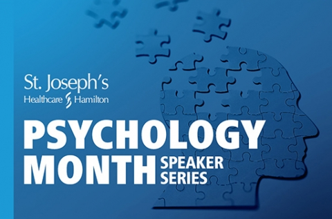Image of a brain depicted in blue puzzle pieces with white text Saint Joseph's Healthcare Hamilton Psychology Month Speaker Series