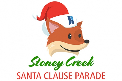 HPLs mascot Scout pictured in a Santa Claus hat with the text Stoney Creek Santa Claus Parade