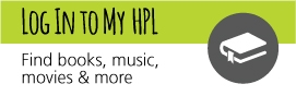 Log in to My HPL button, grey and green with book icon