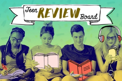 4 teens sitting side-by-side, one is writing, 2 are reading, one is listening to headphones. A hand drawn banner reads Teen Review Board