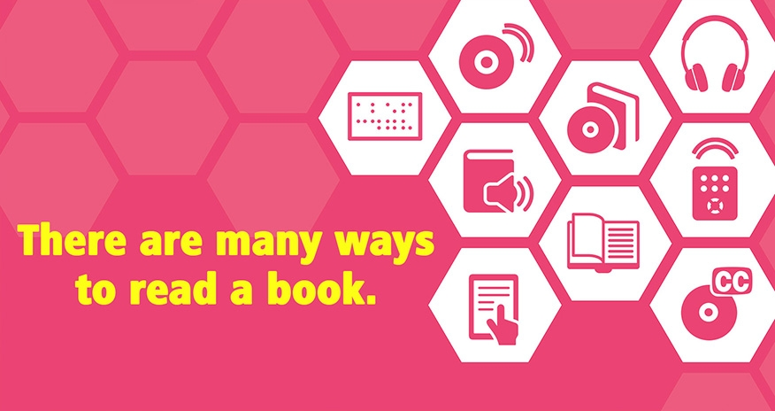 There are many ways to read a book. An image of miscellaneous accessibility tools used to read books