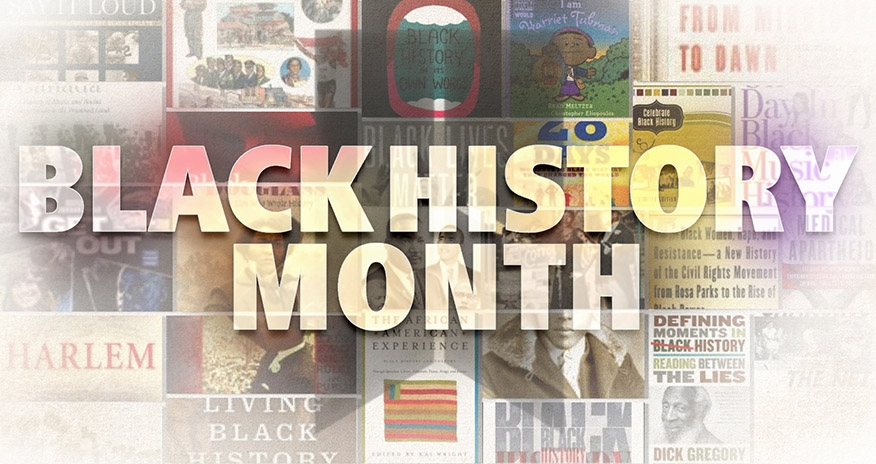 a collage of black history related book covers with overlay text Black History Month