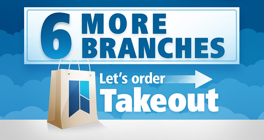Let's order take-out. Six more branches starting July 14.