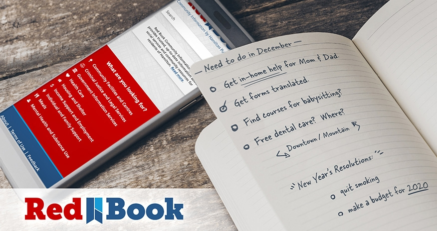 HPLs Redbook pictured on a mobile device next to a list with things to do in December