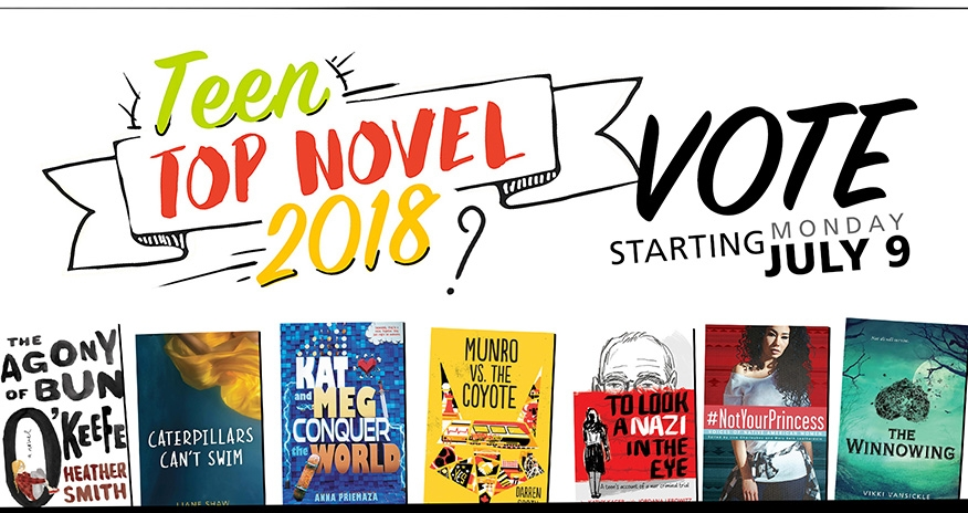 book covers of the various Young Adult novels vying for Teen Top Novel 2018