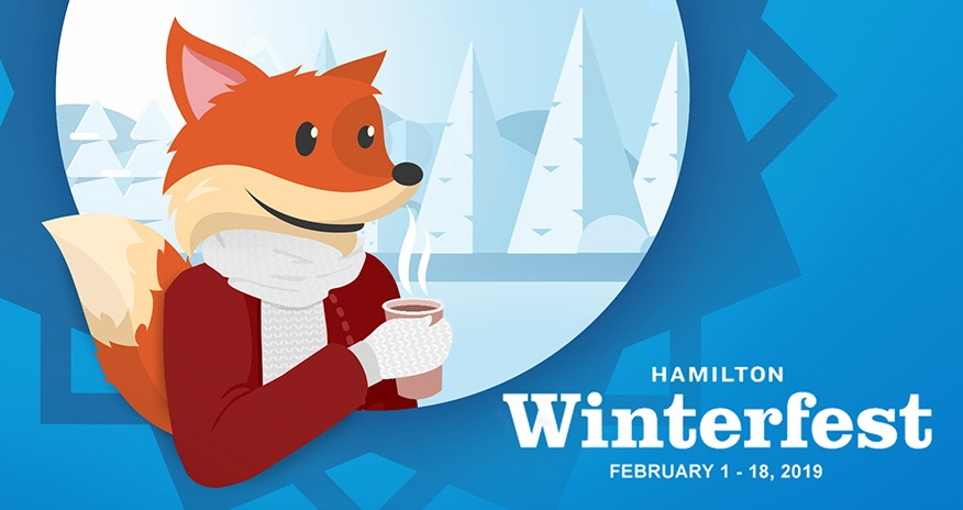 Scout dressed in winter gear with text Hamilton Winterfest