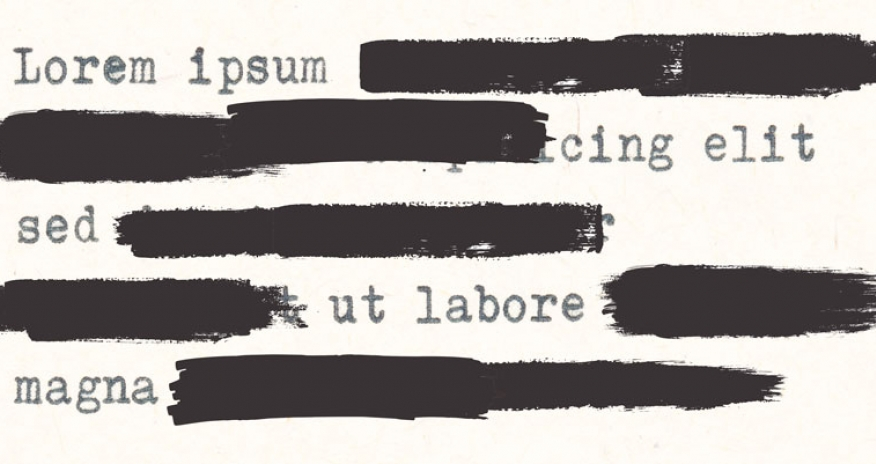 a sample of the lorem ipsum text with some parts blacked out