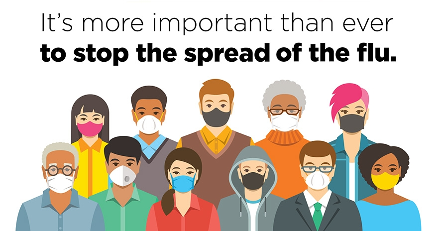 It's more important than ever to stop the spread of the flu. People pictured wearing their masks.