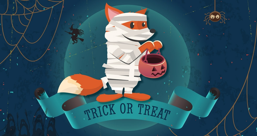 a graphic image of a fox dressed up as a mummy with halloween themed background and trick or treat underneath