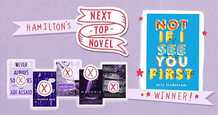 photo of various book covers with text Hamiltons Next Top Novel Winner