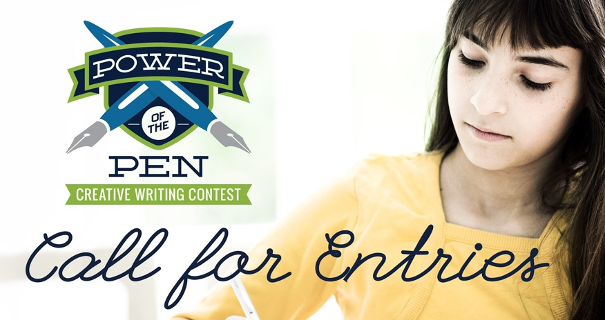 Power of the Pen Creative Writing Contest logo over photo of girl writing on paper