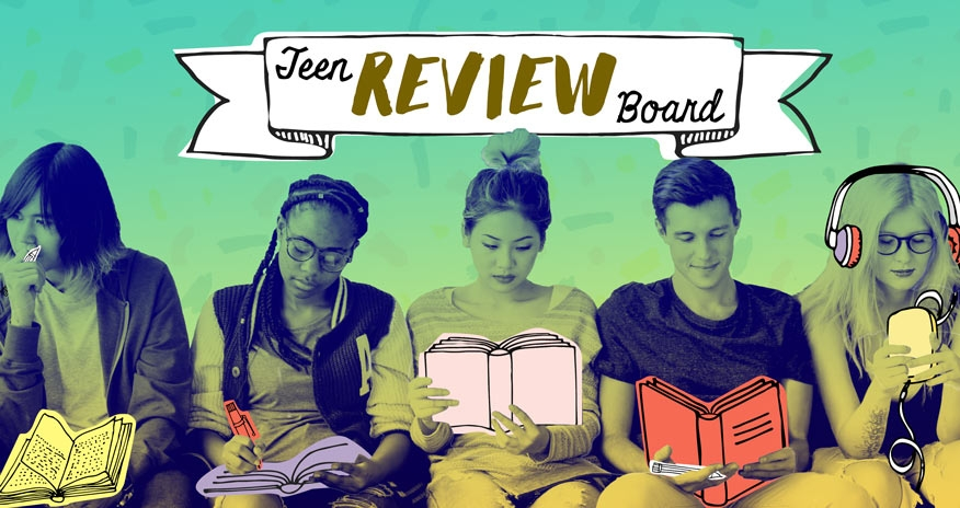 photograph of 5 teens reading books, writing reviews, and watching and listening to media.